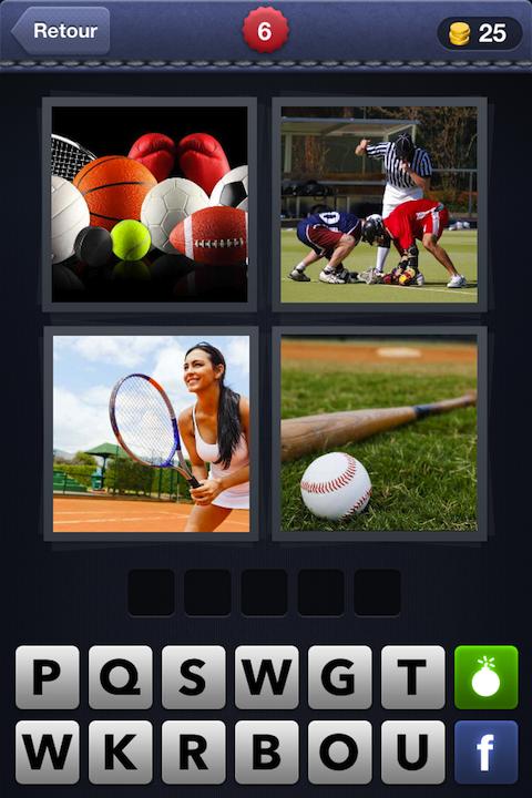 Images 1 Mot 6 (Balles + Football + Tennis + Baseball)