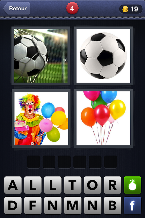 Images 1 Mot 4 (Ballon + Ballon + Clown + Ballons)