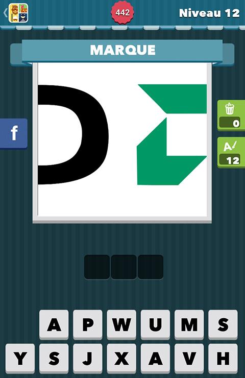 Indice : MARQUE Description : un D en noir et un logo vert Lettres ...