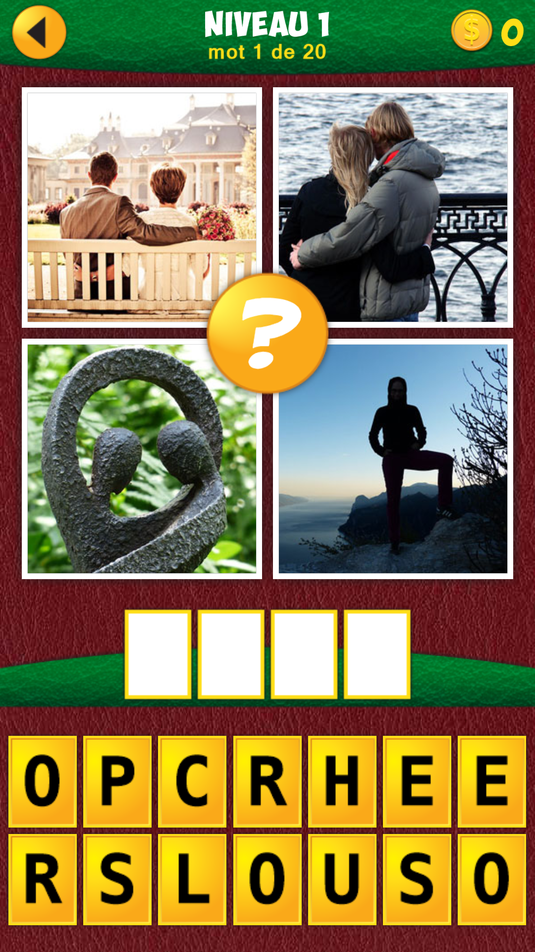 Solution 4 images 1 Mot niveau par niveau : [ENFIN]. Ce sujet contient la liste complète ( au niveau 1719 ) des Vous savez sûrement que les grilles du jeu apparaissent d'une façon aléatoire pour chaque joueur, vous devez donc trouver les 4 images sans avoir recours à des recherches par niveau.